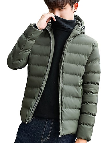 Herren Gefüttert Mantel,Standard Einfach Lässig/Alltäglich Übergröße Solide Buchstabe-Polyester Langarm