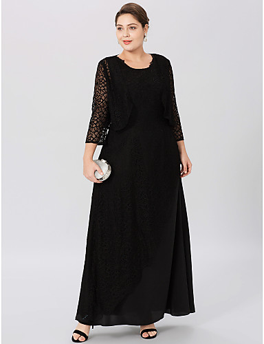 Plus Size A-Line Jewel Neck Ankle Length Chiffon Sheer Lace Mother of the Bride Dress with Lace by LAN TING BRIDE®