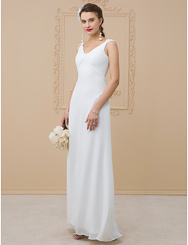 Sheath / Column V Neck Floor Length Chiffon / Charmeuse Made-To-Measure Wedding Dresses with Pleats by LAN TING BRIDE® / Open Back