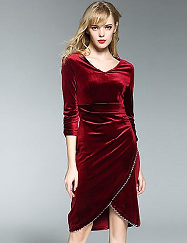 Damen Ausgehen Hülle Übers Knie Kleid Solide V-Ausschnitt Langarm Hohe Taillenlinie