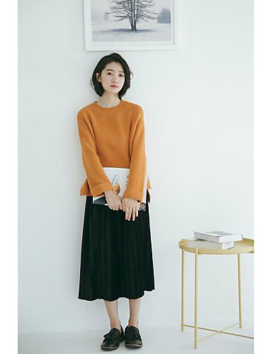 Damen Freizeit Baumwolle Langarm Pullover - Solide