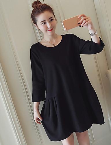 Damen Strickware Kleid-Lässig/Alltäglich Solide Rundhalsausschnitt Übers Knie Langarm Baumwolle Acryl Mittlere Hüfthöhe Dehnbar Mittel