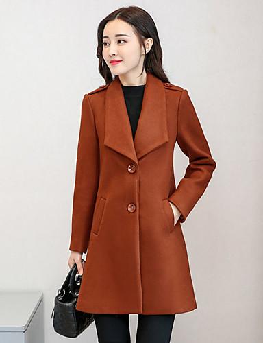 Damen Solide Street Schick Ausgehen Standard Mantel Winter Herbst Polyester
