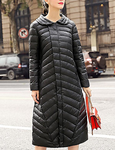 Damen Daunenjacke Mantel,Lang Einfach Andere Solide-Daune Langarm