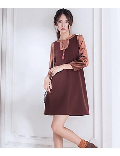 Damen Lose Kleid-Ausgehen Solide U-Ausschnitt Übers Knie Langarm Polyester Hohe Taillenlinie Mikro-elastisch Mittel