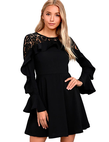 c57aff172535 Women's Ruffle Party Club Mini Lace Dress - Solid Colored Lace High Waist  Winter Black Red S M L #06410198
