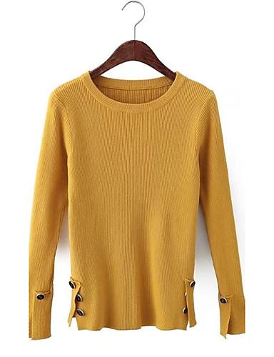 Damen Standard Pullover-Ausgehen Lässig/Alltäglich Solide Rundhalsausschnitt Langarm Andere Mittel Mikro-elastisch