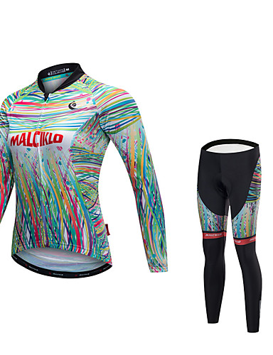 cheap Cycling Clothing-Malciklo Women's Long Sleeve Cycling Jersey with Tights - Green / Yellow Bike Clothing Suit Quick Dry Anatomic Design Reflective Strips Winter Sports Lycra Painting Mountain Bike MTB Road Bike Cycling