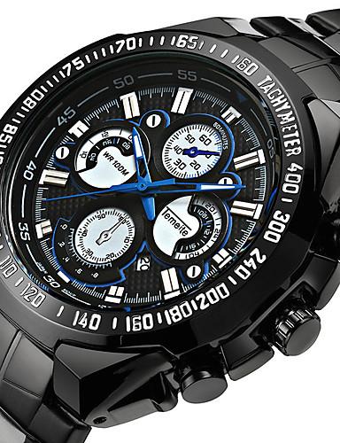 Herrn Sportuhr / Militäruhr / Armbanduhr Japanisch Alarm / Kalender / Chronograph Band Retro / Freizeit / Modisch Schwarz / Edelstahl / Wasserdicht / Thermometer / leuchtend / LCD