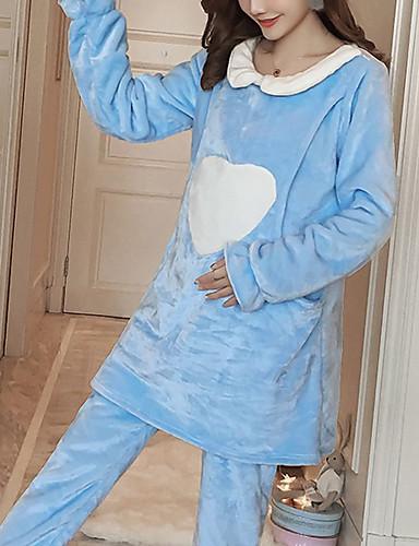 Damen Anzüge Pyjamas,Herzen Baumwolle Polyester Rosa Leicht Blau