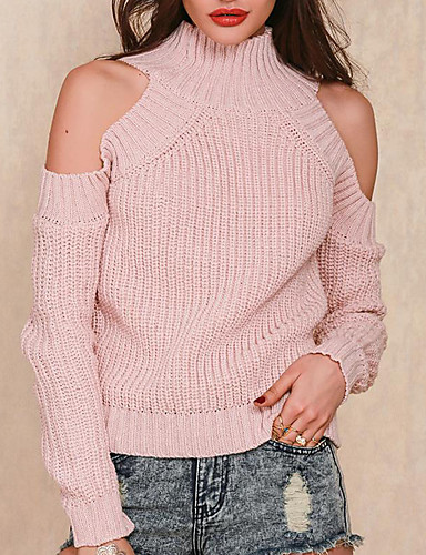 Damen Standard Pullover-Lässig/Alltäglich Einfach Solide Rollkragen Langarm Baumwolle Mittel Mikro-elastisch