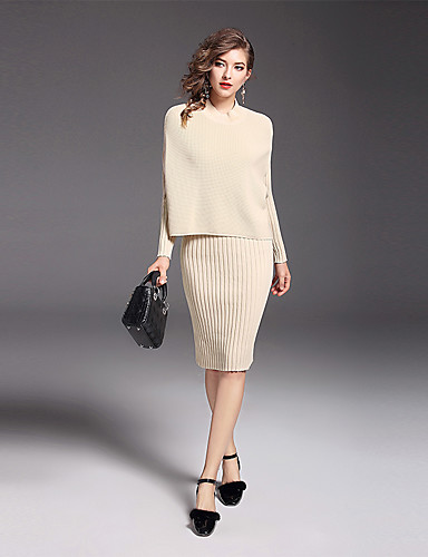 Damen Solide Anspruchsvoll Alltag Arbeit Pullover Kleid Anzüge Langarm Nylon Mercerisierte Baumwolle