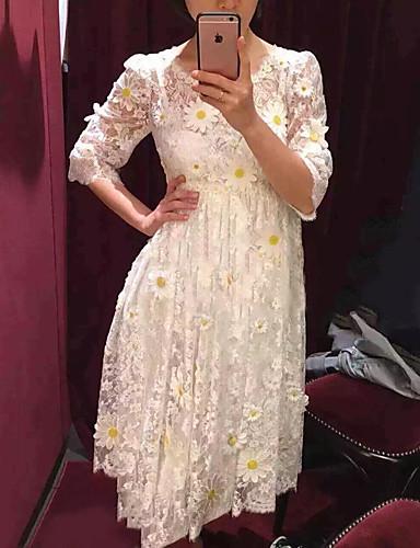 Damen Ausgehen Baumwolle Hülle Kleid Solide / Stickerei Übers Knie Hohe Taillenlinie