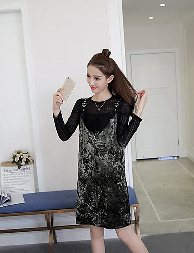 Damen Solide Freizeit Alltag Set Rock Anzüge,Rundhalsausschnitt Winter Langarm Polyester