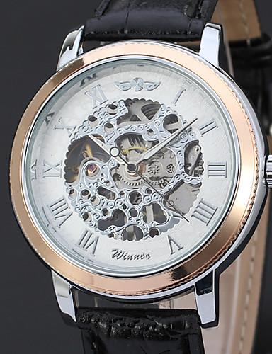 WINNER Męskie Mechaniczny, nakręcanie ręczne zegarek mechaniczny Zegarek na nadgarstek Hollow Grawerowanie Skóra Pasmo Luksusowy Vintage
