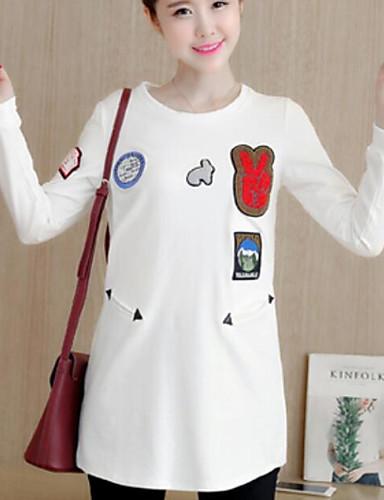 Damen Pullover Ausgehen Lässig/Alltäglich Solide Druck Mikro-elastisch Baumwolle Langarm