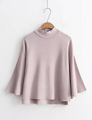 Damen Standard Pullover-Ausgehen Lässig/Alltäglich Solide Rundhalsausschnitt 3/4 Ärmel Kaschmir Andere Dünn Mittel Mikro-elastisch