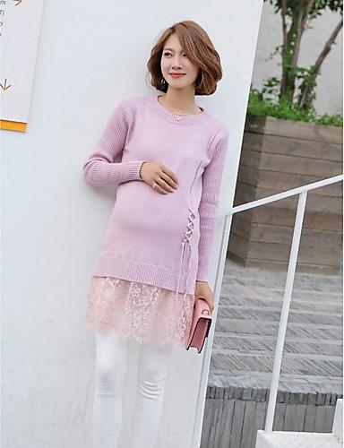 Damen Spitze Kleid-Lässig/Alltäglich Solide Rundhalsausschnitt Übers Knie Langarm Andere Mittlere Taillenlinie Mikro-elastisch Mittel