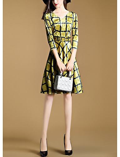 Damen Hülle Kleid-Ausgehen Schachbrett V-Ausschnitt Übers Knie 3/4 Ärmel Polyester Hohe Taillenlinie Mikro-elastisch Mittel