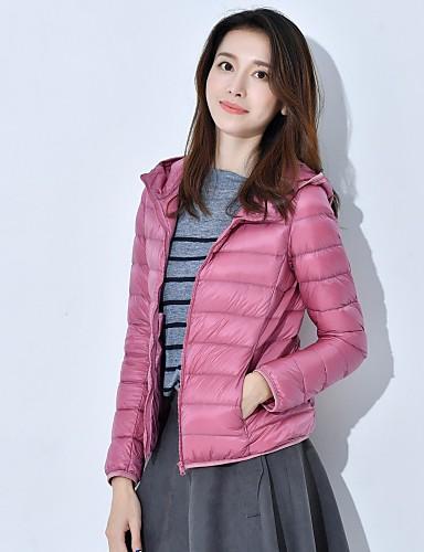 Damen Daunenjacke Mantel Einfach Lässig/Alltäglich Solide-Nylon Langarm