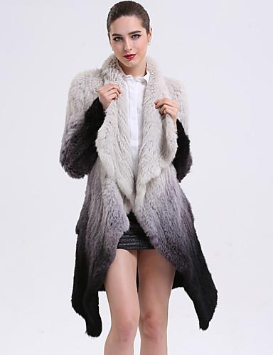Damen Einfarbig Anspruchsvoll Alltag Pelzmantel Winter Herbst Langarm Standard Kaninchen-Pelz