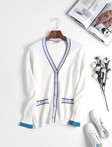 Damen Standard Strickjacke-Lässig/Alltäglich Einfarbig V-Ausschnitt Langarm Andere Dünn Dehnbar