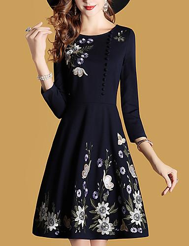 9458028f311 Γυναικεία Μεγάλα Μεγέθη Κομψό στυλ street Θήκη Φόρεμα - Μονόχρωμο Κέντημα  Ως το Γόνατο