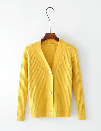 Damen Lang Strickjacke-Ausgehen Lässig/Alltäglich Solide V-Ausschnitt Langarm Baumwolle Andere Mittel Dick Mikro-elastisch