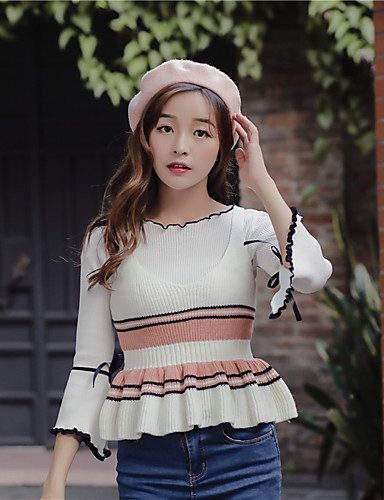Damen Standard Weste-Lässig/Alltäglich Einfach Gestreift V-Ausschnitt Ärmellos Baumwolle Herbst Mittel Mikro-elastisch