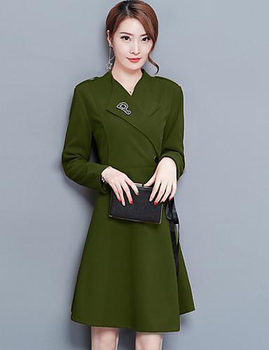 Damen Hülle Kleid-Ausgehen Arbeit Boho Street Schick Solide V-Ausschnitt Übers Knie Langarm Andere Elastan Mittlere Hüfthöhe