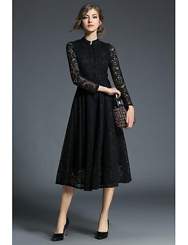 Damskie Vintage / Na co dzień Bawełna Linia A / Little Black / Sukienka swingowa Sukienka - Żakard / Pusty, Koronka Stójka Do kolan