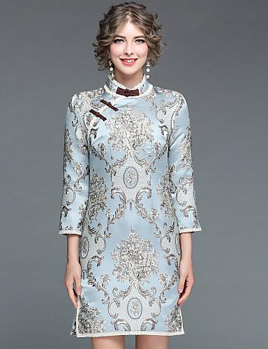 Damen Hülle Kleid-Ausgehen Lässig/Alltäglich Chinoiserie Stickerei Ständer Knielang Langärmelige Polyester Herbst Winter Mittlere