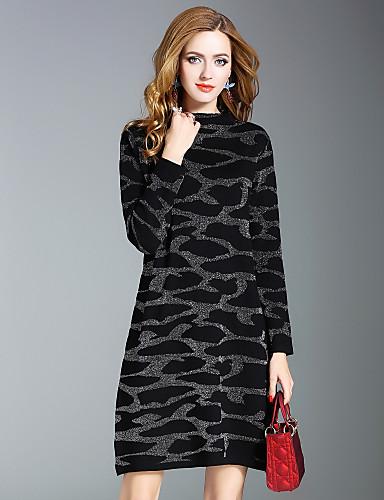 Damen A-Linie Kleid Leopard Knielang Ständer