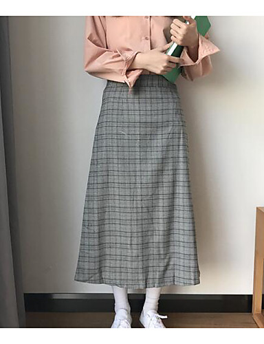 Damen Urlaub Midi Röcke einfarbig Frühling Winter