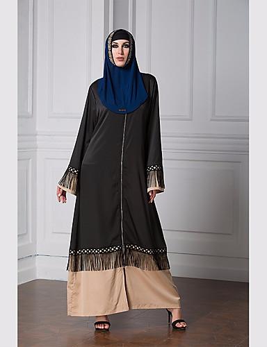 Damen - Einfarbig Einfach / Freizeit Abaya, V-Ausschnitt Quaste / Frühling / Herbst
