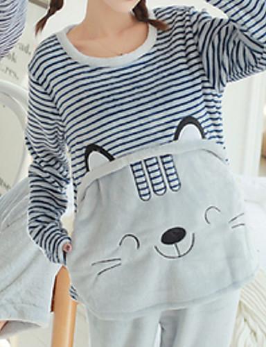 Damen Baumwolle Anzüge Pyjamas Mehrfarbig Stickerei Tier