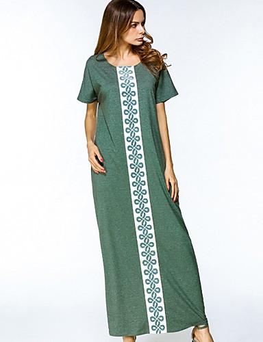 Damen Baumwolle Tunika Kleid Einfarbig Maxi