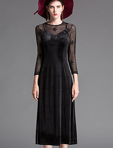 Damen Lose Kleid-Lässig/Alltäglich Einfach Solide Rundhalsausschnitt Midi Langarm Polyester Tiefe Hüfthöhe Mikro-elastisch Mittel
