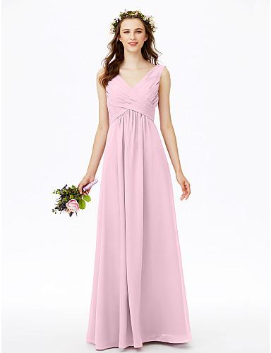 ab1d17d265c9 Ίσια Γραμμή Λαιμόκοψη V Μακρύ Σιφόν Φόρεμα Παρανύμφων με Πλισέ Χιαστί με LAN  TING BRIDE®