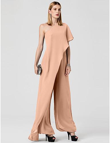 abordables Robes de Fête-Combinaison Une Epaule Longueur Sol Mousseline de soie Soirée Formel Robe avec Drapée par TS Couture®
