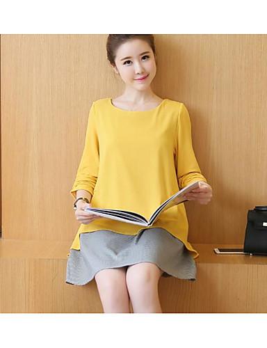 Damen Lose Kleid-Ausgehen Einfarbig Rundhalsausschnitt Übers Knie Langarm Baumwolle Herbst Mittlere Hüfthöhe Mikro-elastisch