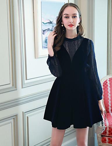 Damen Hülle Kleid-Ausgehen Solide Rundhalsausschnitt Übers Knie Langarm Polyester Hohe Taillenlinie Mikro-elastisch Mittel