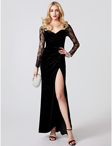 cheap Evening Dresses-Mermaid / Trumpet V Neck Ankle Length Jersey / Sheer Lace Cocktail Party / Formal Evening Dress with Appliques / Split Front / Pleats by TS Couture® / Illusion Sleeve
