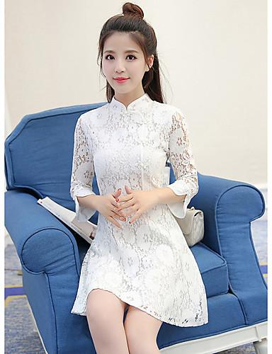 Damen Party Baumwolle Hülle Kleid Solide Übers Knie Ständer Hohe Taillenlinie