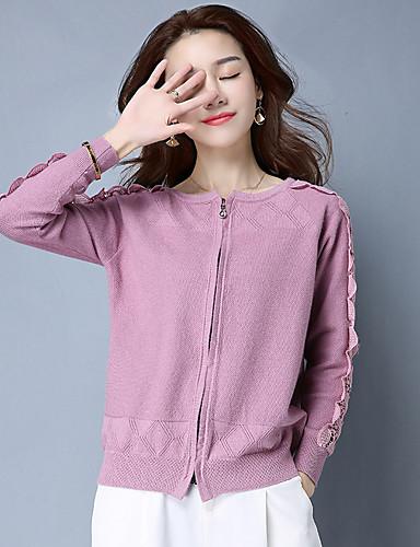 Damen Standard Shrug-Lässig/Alltäglich Solide Rundhalsausschnitt Langarm Baumwolle Polyester Mittel Mikro-elastisch