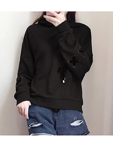 Damen Kapuzenshirt Solide Baumwolle
