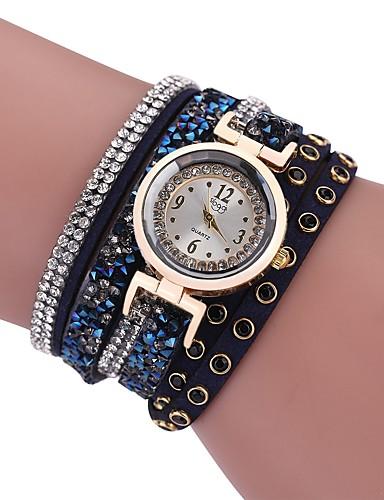 Damskie Kwarcowy Sztuczny Diamant Zegarek Zegarek na bransoletce Chiński sztuczna Diament PU Pasmo Vintage Na co dzień Artystyczny Czarny