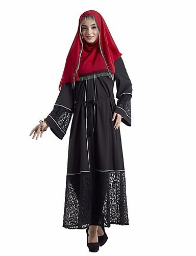 Damen Abaya Kleid-Alltag Solide Rundhalsausschnitt Maxi Langarm Andere Ganzjährig Hohe Hüfthöhe Unelastisch Mittel