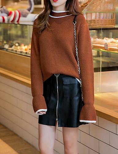 Damen Standard Strickjacke-Lässig/Alltäglich Solide Rundhalsausschnitt Langarm Baumwolle Herbst Winter Mittel Mikro-elastisch
