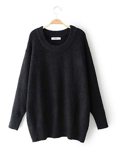 Damen Standard Pullover-Ausgehen Lässig/Alltäglich Solide Rundhalsausschnitt Langarm Baumwolle Andere Dünn Mittel Mikro-elastisch